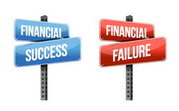 Financial success, financial failure signs. Illustration design over a white background Stock Photography