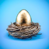 Financial Success finding the Golden Egg. Financial Success finding the Golden Egg 3d illustration Royalty Free Stock Photo