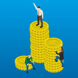 Financial success flat 3d web isometric illustration. Business concept. Happy and successful businessman winner on top of coins Royalty Free Stock Photo