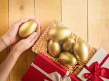 Financial success. Golden egg In a red gift box Royalty Free Stock Images