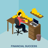Financial success. Isometric gold. US dollars. Stock Image