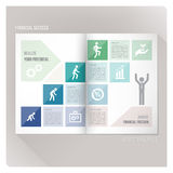 Financial success. Leaflet layout template with man evolution icons and financial icons, stpes to success concept Royalty Free Stock Photography