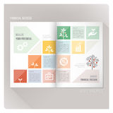 Financial success. Leaflet layout template with plant growing with fruits anf financial icons Stock Photos