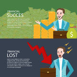Financial success and lost investment money chart down banner set. Vector Royalty Free Stock Photo