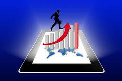 Financial success report & statistics on tablet pc. With blue background Royalty Free Stock Image