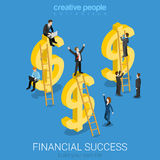 Financial success US dollar signs flat vector isometric 3d Royalty Free Stock Photo