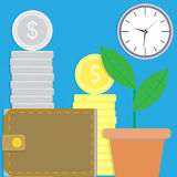 Financial success vector. Wealth and wallet illustration Stock Images