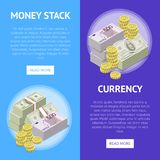 Financial success flyers with paper banknotes stock illustration