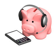 Financial support. Piggy bank and phone Royalty Free Stock Photos