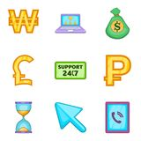 Financial support icons set, cartoon style. Financial support icons set. Cartoon set of 9 financial support vector icons for web isolated on white background Stock Photos