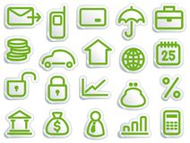 Financial symbols. Stickers with financial and bank symbols Stock Images