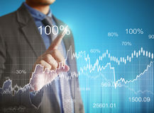 Financial symbols coming from han Stock Images