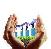 Financial symbols coming from han Stock Photography