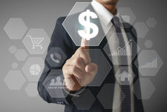 Financial symbols coming from han. Businessman with financial symbols coming from han Stock Image