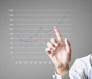 Financial symbols coming from hand Stock Image