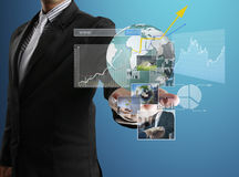 Financial symbols coming from hand Royalty Free Stock Photo