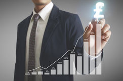 Financial symbols coming from hand Royalty Free Stock Photography