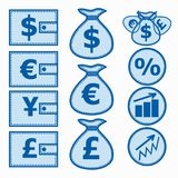 Financial Symbols. Illustration. Set of financial instruments for saving money. Illustration in blue colors Royalty Free Stock Photography