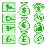 Financial Symbols. Illustration. Set of financial instruments for saving money. Illustration in green colors Stock Photo