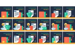 Financial Symbols Set. Successful investing concept. Bank holding. Financial budget banner. Money, coins with document. Earnings and payments symbol. Vector Stock Photos
