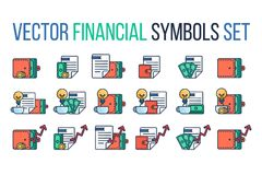 Financial Symbols Set. Successful investing concept. Bank holding. Financial budget banner. Money, coins with document. Earnings and payments symbol. Vector Royalty Free Stock Images