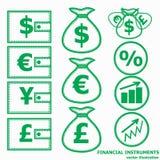 Financial Symbols. Vector illustration. Financial instruments for saving money. Vector illustration Stock Images