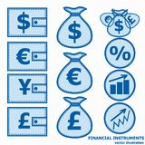 Financial Symbols. Vector illustration. Financial instruments for saving money. Vector illustration in blue colors Royalty Free Stock Image