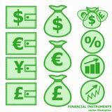 Financial Symbols. Vector illustration. Financial instruments for saving money. Vector illustration in green colors Royalty Free Stock Photos