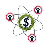 Financial System conceptual logo, unique vector symbol. Dollar s. Igns, circulation of money Royalty Free Stock Images