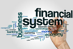 Financial system word cloud concept on grey background.  Stock Photos