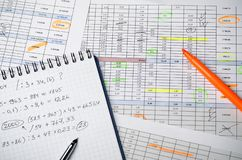 Financial tables on paper and a notebook with calculations royalty free stock photo