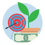 Financial target icon. Aim center, strategy and focus to banknote bill, vector illustration Stock Photography