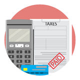 Financial taxation paid. Vector tax accounting, tax forms paid illustration Royalty Free Stock Photos