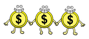Financial teamwork. A cute illustration of a group made up of three dollar coins with smiling faces Royalty Free Stock Photos
