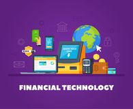 Financial Technology Flat Composition. Financial technologies flat orthogonal composition with automatic banking machine transactions online smartphone shopping Stock Photo