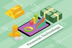 Financial technology business concept illustrations with isometric 3d style Royalty Free Stock Photography