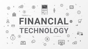 Financial technology and Business investment info graphic. Financial technology FinTech and Business investment info graphic. Flat line style design for web Royalty Free Stock Image