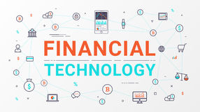 Financial technology and Business investment info graphic. Flat line style design for web banner, business startup, commercial, poster design and advertising Stock Photos
