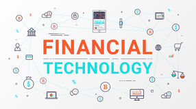 Financial technology and Business investment info graphic. Thin line art style design for web banner, business startup, commercial, poster design and Stock Image