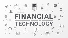 Financial technology and Business investment info graphic. Thin line art style design for web banner, business startup, commercial, poster design and Stock Photos