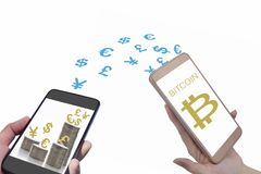 Smartphone and currency on stack of coins on white background. Financial technology concept and block chain technology idea Royalty Free Stock Images