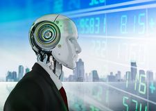 Financial technology concept. With 3d rendering humanoid robot analyze stock market