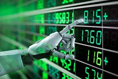 Financial technology concept. With 3d rendering robot analyze stock market