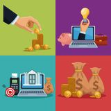 Financial technology concept. On colorful squares vector illustration graphic design Royalty Free Stock Photo