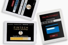 Financial technology concept. And peer to peer transfer money idea Royalty Free Stock Images