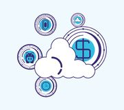Financial technology design. Cloud storage with financial technology related icons over blue background, vector illustration Stock Photos