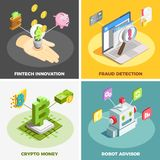 Financial Technology 2x2 Design Concept. Set of fintech innovation fraud detection crypto money robot advisor square compositions isometric vector illustration Stock Photography