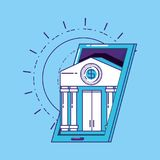 Financial technology design. Financial technology concept with smartphone with bank building over blue background, vector illustration Royalty Free Stock Image