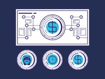 Financial technology design. Money bill with financial related icons over blue background, vector illustration Royalty Free Stock Image
