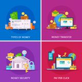 Financial Technology Flat Concept. Financial technology flat orthogonal colorful icons square concept with online payments money transfer security isolated Stock Photography